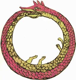 Uroboro, il serpente che si morde la coda, simbolo esoterico della ciclicità del tempo.